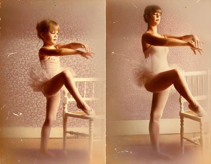 Fotógrafa recria fotos as mesmas fotos de crianças agora como adultos 15