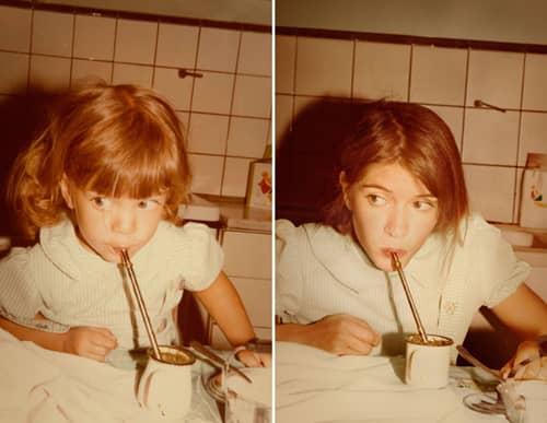 Fotógrafa recria fotos as mesmas fotos de crianças agora como adultos 23