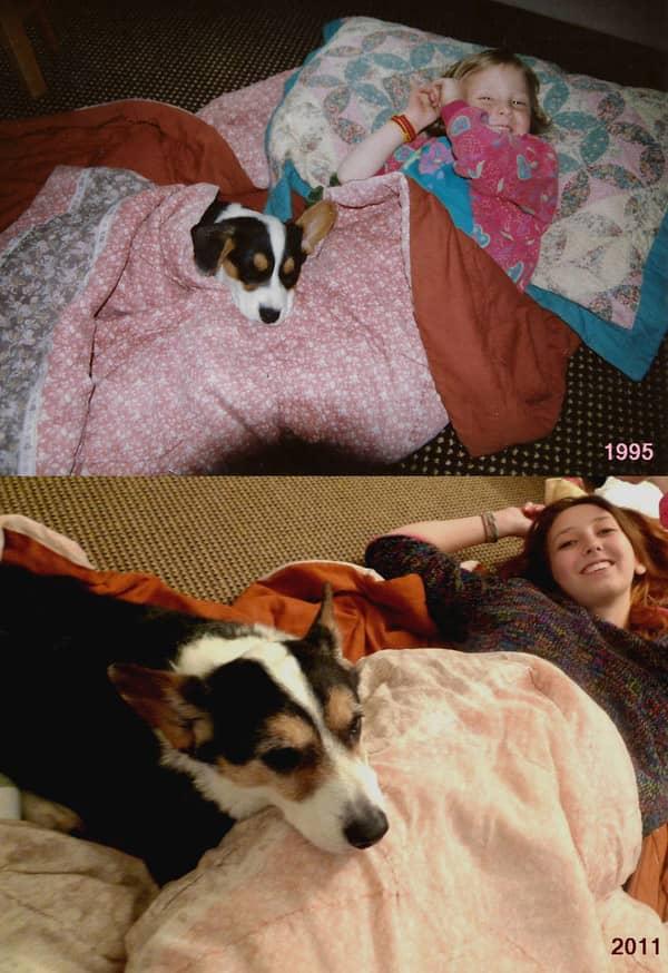 Fotos de pessoas com seus pets na infância e na vida adulta 2