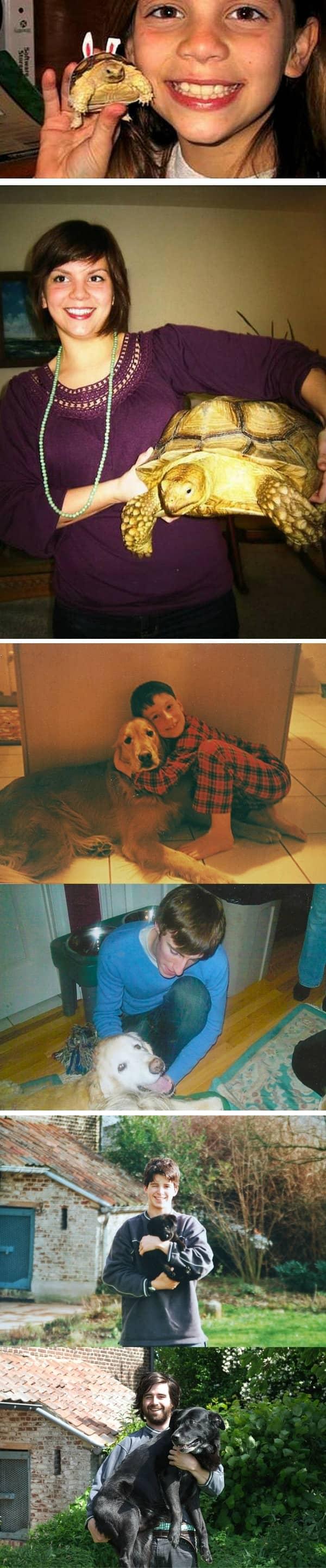 Fotos de pessoas com seus pets na infância e na vida adulta 3