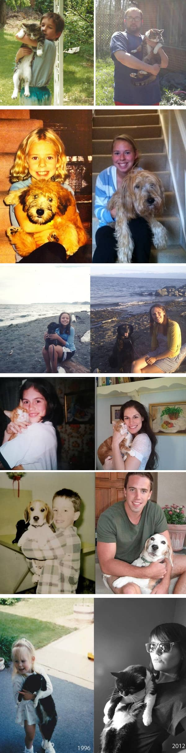 Fotos de pessoas com seus pets na infância e na vida adulta 1