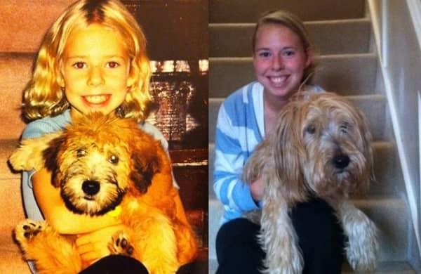 Fotos de pessoas com seus pets na infância e na vida adulta 4