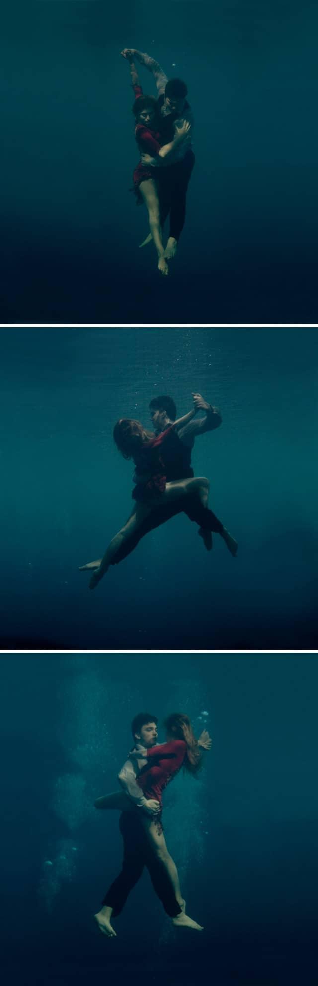 Fotógrafa retrata casal apaixonado dançando Tango debaixo d'água 2