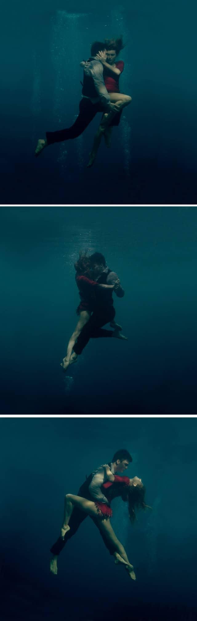 Fotógrafa retrata casal apaixonado dançando Tango debaixo d'água 3