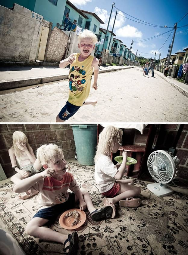 Fotógrafo registra uma família negra com fihos albinos que vivem fugindo do sol 7