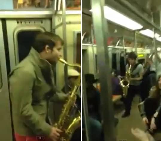 'Batalha' de saxofones alegra o dia de moradores de NY no metrô 4