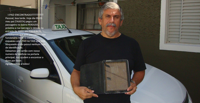 Taxista encontra Ipad e busca dono pelo Facebook para devolver o aparelho 2