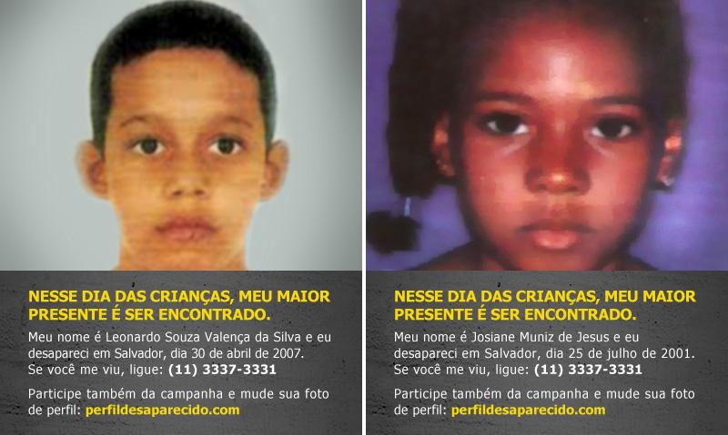 Coloque uma foto de criança desaparecida no seu perfil 2