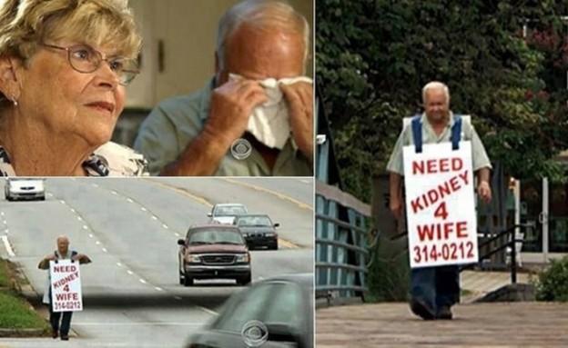 Marido sai pelas ruas com uma placa procurando doador de rim para sua esposa 4