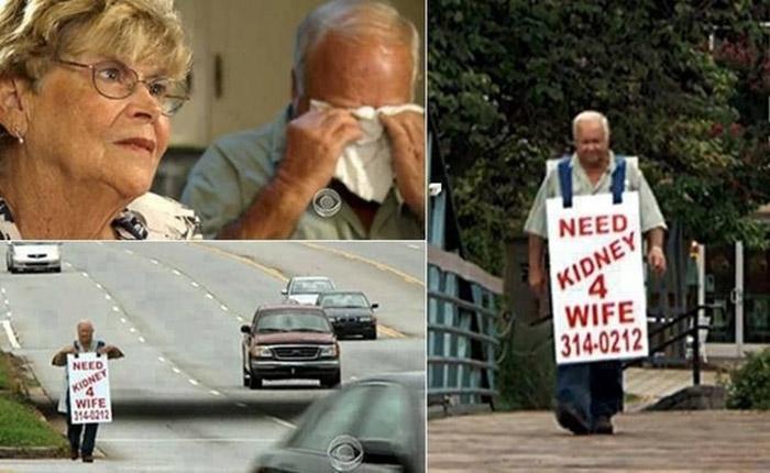 Marido sai pelas ruas com uma placa procurando doador de rim para sua esposa 2