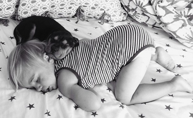 Mãe faz sucesso em NY com fotos de bebê e filhote que só dormem juntos 1