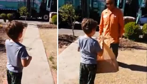 Ato de bondade de um lixeiro para uma criança autista 7