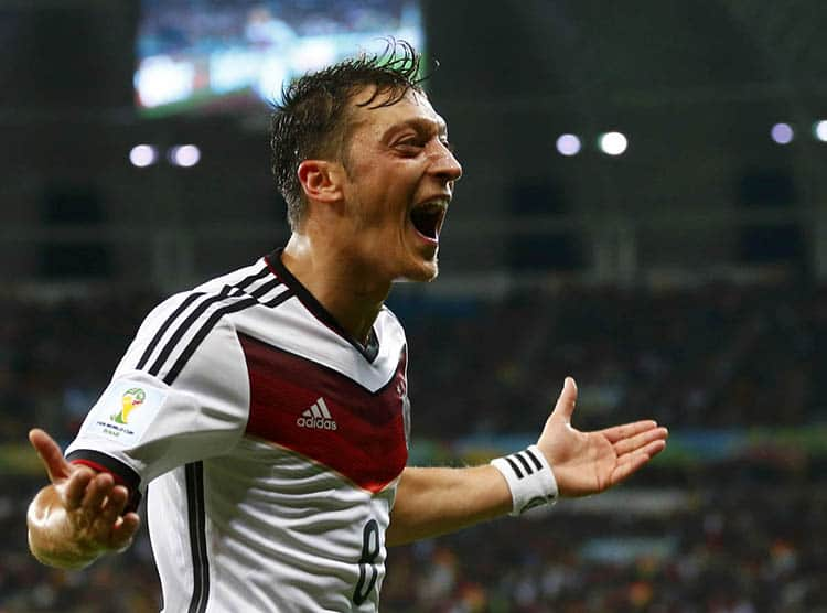 Germany's Mesut Ozil celebrates scoring their second goal during extra time in their 2014 World Cup round of 16 game against Algeria at the Beira Rio stadium in Porto Alegre