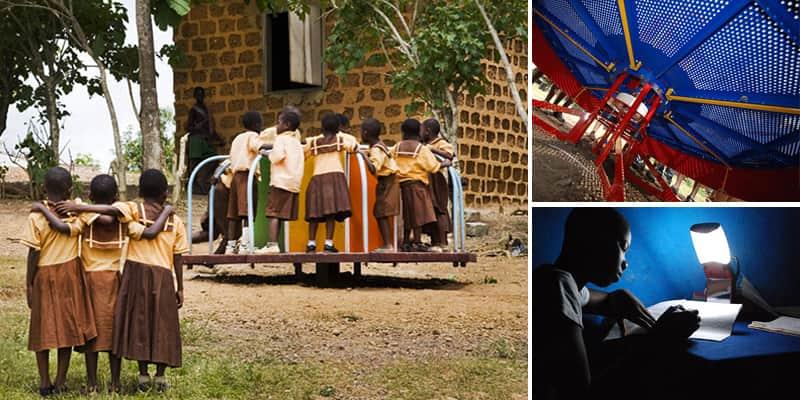 Crianças no Gana geram eletricidade para escola brincando no playground 1