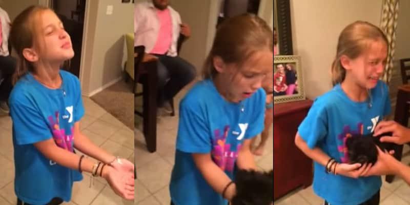 A emocionante reação de uma menina ao ganhar o cãozinho de estimação 2