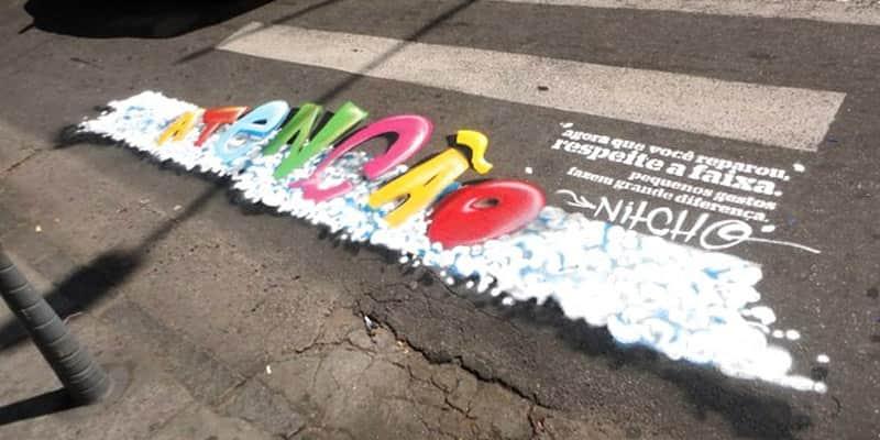 Projeto faz grafitagem nas faixas de pedestres para conscientizar sobre a importância da sinalização 2