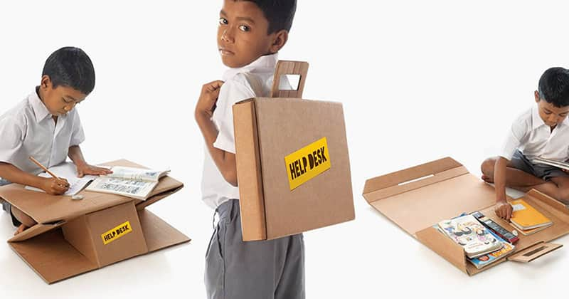 ONG transforma caixas de papelão em mochilas que ainda viram mesas pra ajudar estudantes indianos 2