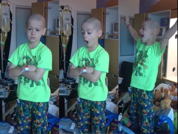 Menino com leucemia comemora muito ao descobrir alta de hospital 1