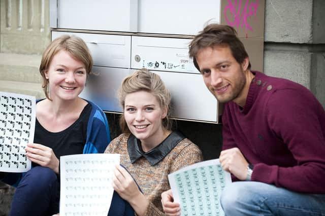 Lisa Ochsenbein, Sabine Hirsig und Ivan Mele, Gründer von Pumpipumpe.
