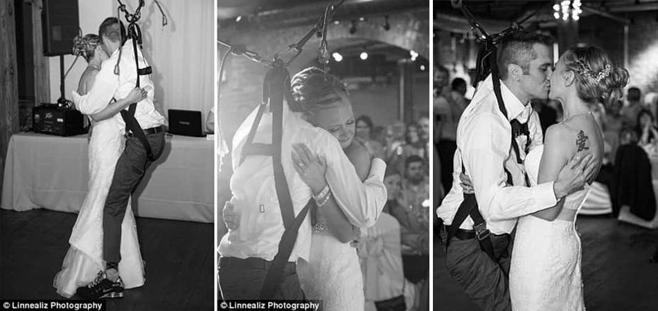 Surpresa inesquecível: noivo paraplégico fica 'em pé' para dançar valsa com a noiva 1
