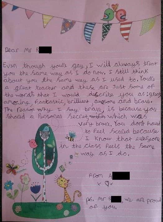 Garota de nove anos faz carta para seu professor que se assumiu gay 1