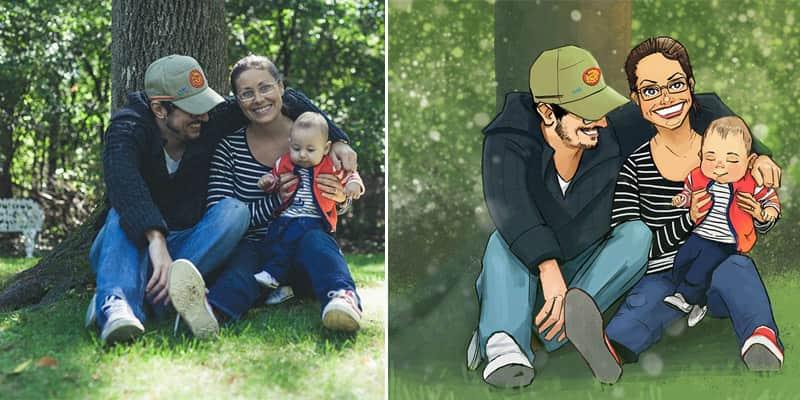 Marido contrata ilustradores para transformarem em quadros as fotos da família 1