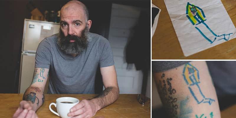 Pai tatua no braço os desenhos do filho desde que ele tem 4 anos 1