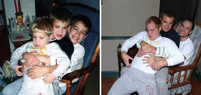 Irmãos recriam fotos da infância como um presente para a mãe 13