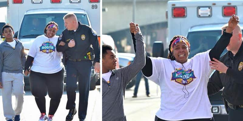 Policial americano auxilia mulher a terminar os últimos 4km de corrida 3