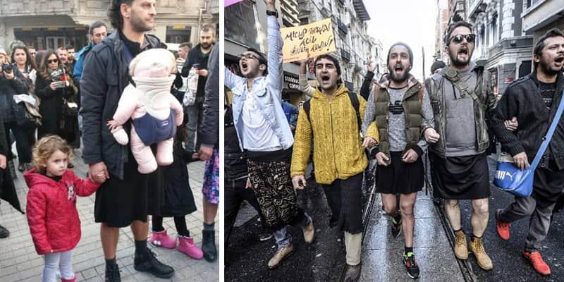Homens turcos saem de minissaias em apoio aos direitos das mulheres 6