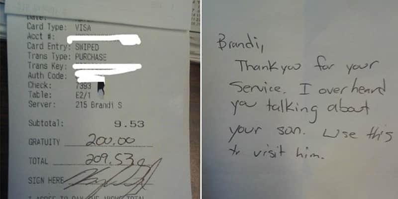 Garçonete recebe gorjeta de quase R$ 600 de cliente para visitar o filho 1
