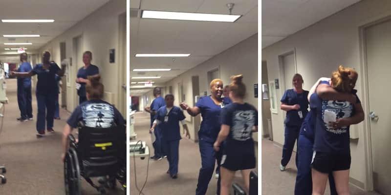 Jovem que estava paralisada faz surpresa para enfermeira que a cuidou 2