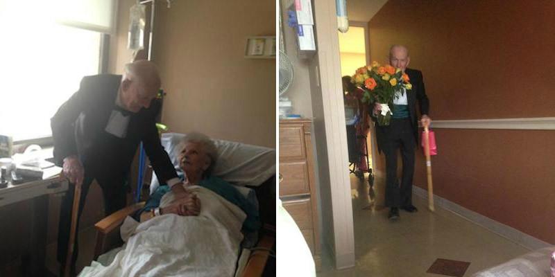 Marido surpreende esposa no hospital no aniversário de 57 anos de casados deles 1
