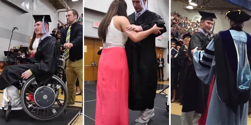 Estudante que havia ficado paralítico, volta a andar para pegar seu diploma na graduação 2