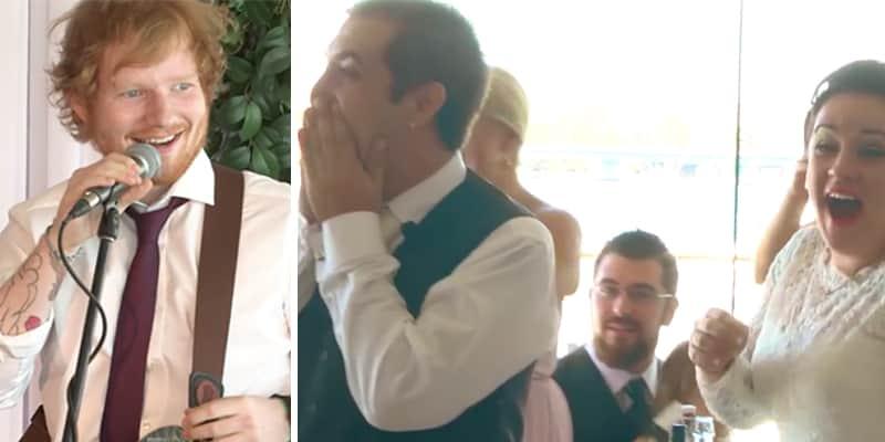 Cantor Ed Sheeran surpreende casal em seu casamento e canta ao vivo primeira dança 2