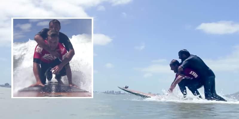 Mesmo sabendo que ia ser desclassificado, surfista realiza sonho de paraplégico 1