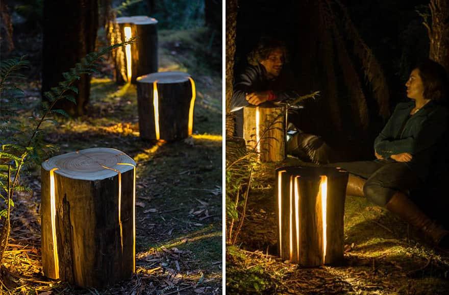 Homem legalmente cego cria luminárias com troncos achados na natureza 2