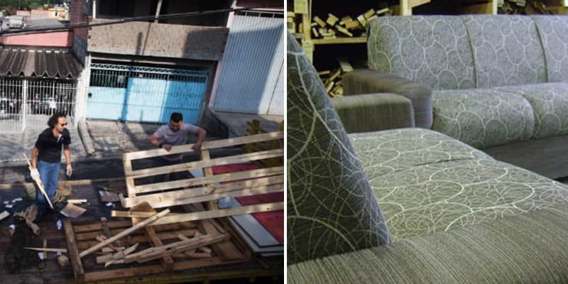 Tapeceiros fazem sofás ecológicos com material tirado do lixo 4