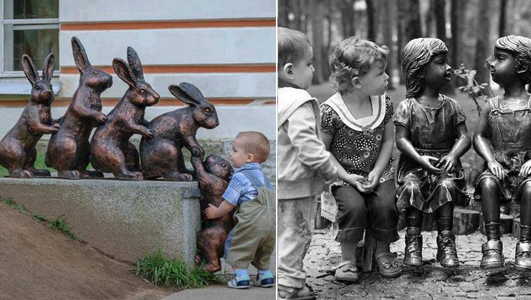 Fotos apaixonantes de crianças interagindo inocentemente com esculturas 2