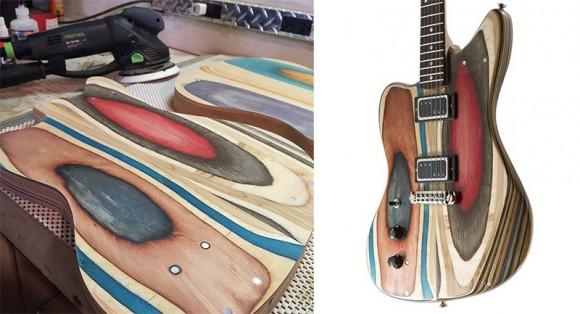 Designer transforma skates velhos em lindas guitarras coloridas 3