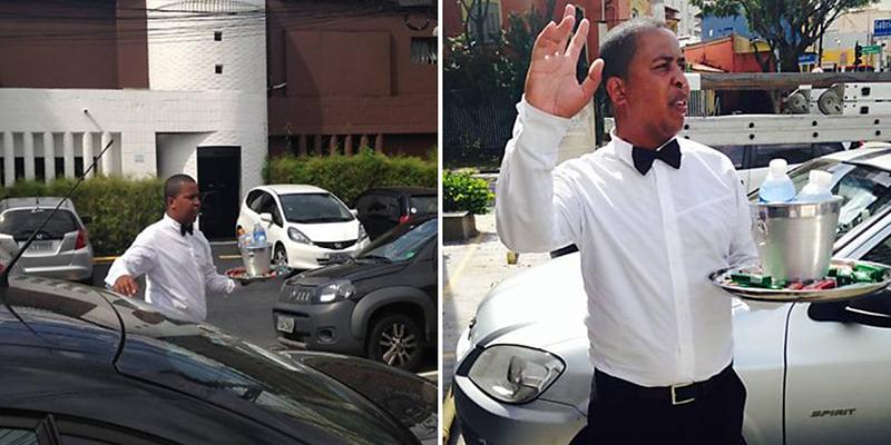 Vestido de garçom, vendedor de água inova e faz sucesso no trânsito em SP 10