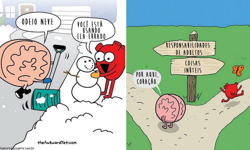 Razão ou emoção? Série de ilustrações humoradas explora dicotomia envolvendo o cérebro e o coração 3