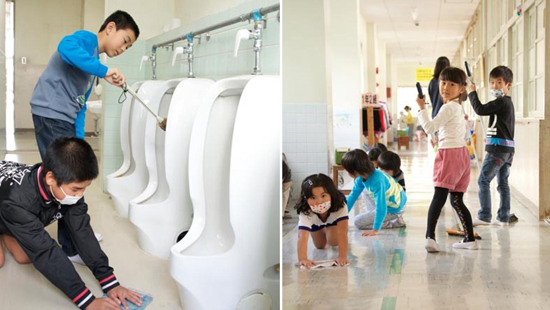 Japão as crianças limpam suas escolas