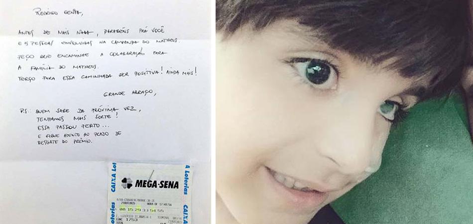"""Anônimo doa bilhete premiado da Mega a menino doente que havia """"fugido"""" do hospital 2"""