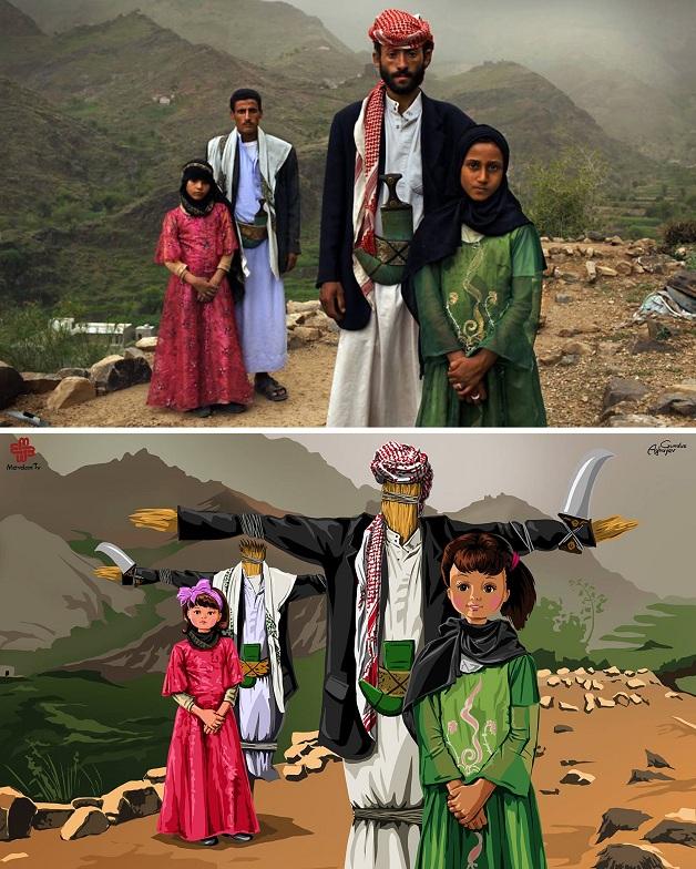 Artista recria cenas trágicas da história em imagens cheias de cor e esperança 3