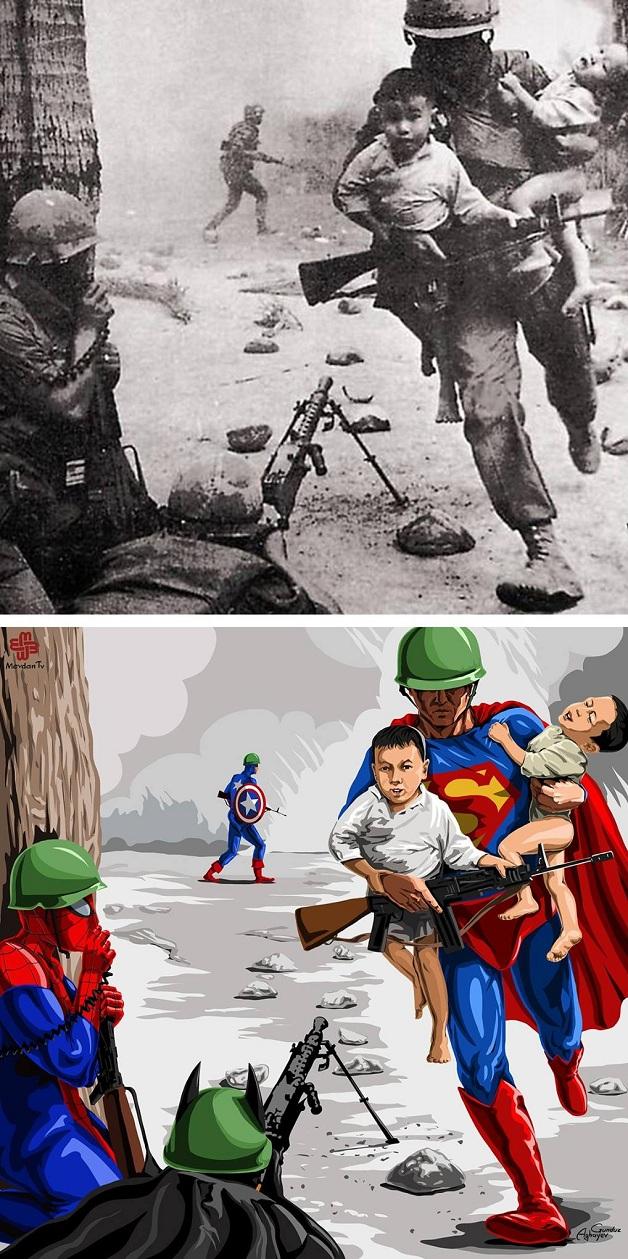 Artista recria cenas trágicas da história em imagens cheias de cor e esperança 9