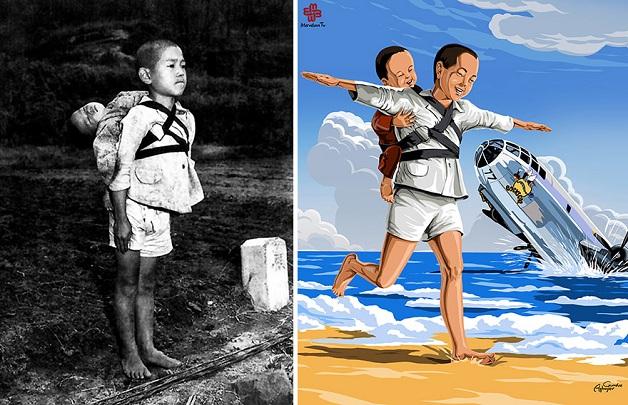 Artista recria cenas trágicas da história em imagens cheias de cor e esperança 2