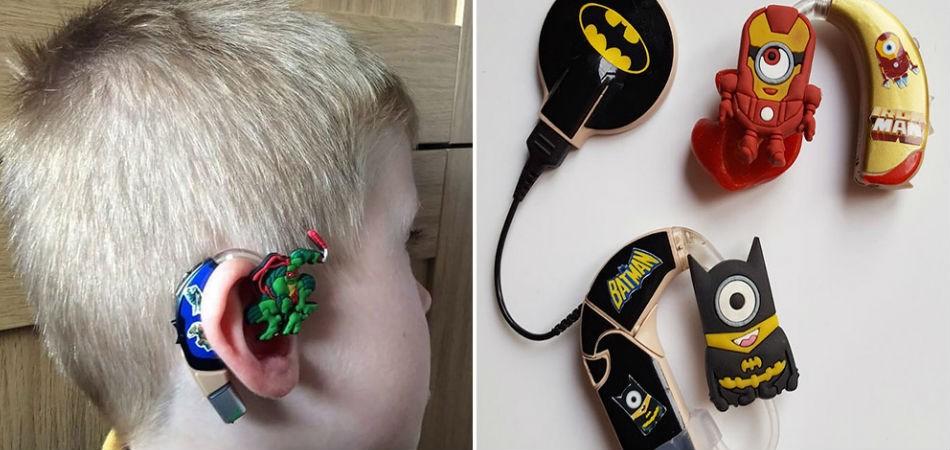 aparelhos auditivos foram desenhados especialmente para o filho