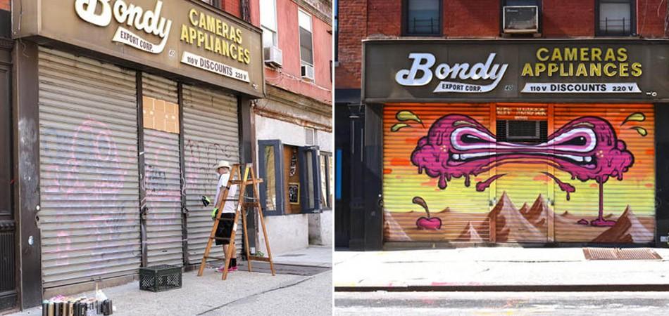 Grafiteiros transformam portões de lojas (sem graça) em belas obras de arte ao ar livre em NY 2