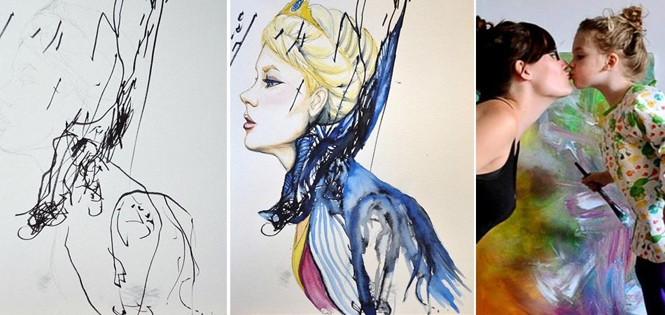 Artista transforma rabiscos da filha em quadros maravilhosos 3